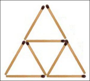 Как из четырех спичек сделать четыре равносторонних треугольника