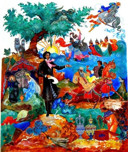 У лукоморья дуб зеленый стих полный с картинками 11
