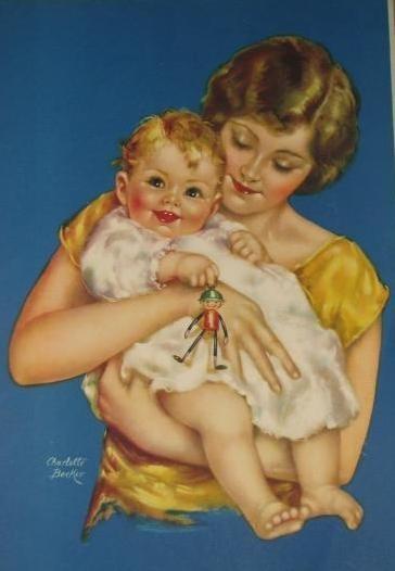 Открытка мама с малышом, костенко открытки